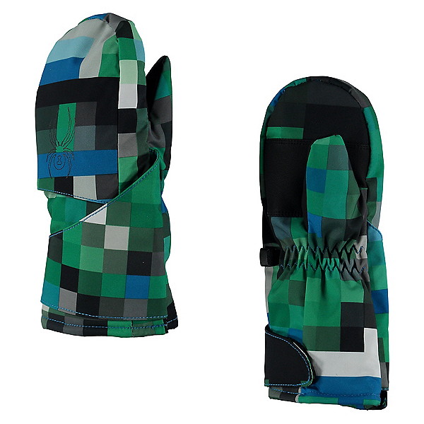Spyder Mini Cubby Toddlers Mittens, Pixel Electric Blue Print-Blac, 600
