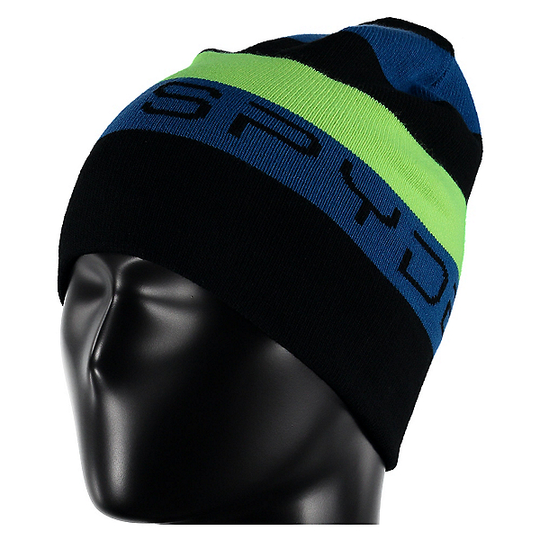 Spyder Duo Reversible Kids Hat, Black-Concept Blue-Bryte Green, 600