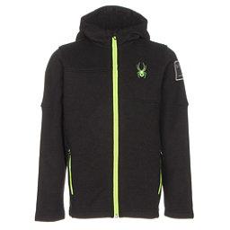 Spyder Upward Mid WT Kids Sweater, Black-Bryte Green, 256