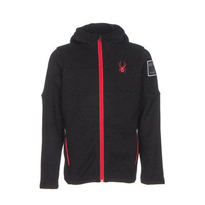 Spyder Upward Mid WT Kids Sweater, Black-Red, viewer