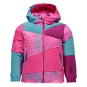 Spyder Bitsy Duffy Puff Toddler Girls Ski Jacket, Morning Sky Freeze Print-Bryte, medium