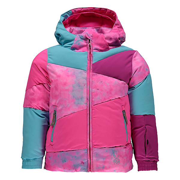 Spyder Bitsy Duffy Puff Toddler Girls Ski Jacket, Morning Sky Freeze Print-Bryte, 600