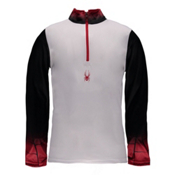 Spyder Linear DRY W.E.B. T-Neck Mens Mid Layer, White-Black-Red, medium