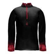 Spyder Linear DRY W.E.B. T-Neck Mens Mid Layer, Black-Red-Red, medium