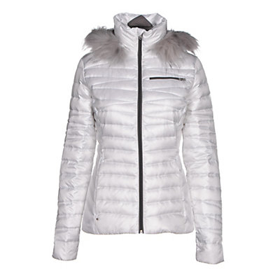 Spyder Timeless Faux Fur Hoody Womens Jacket, White-Weld, viewer
