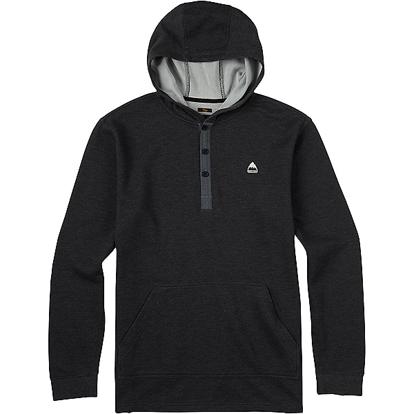 Burton Dexter Hooded Henley Mens Hoodie, True Black Heather, 600