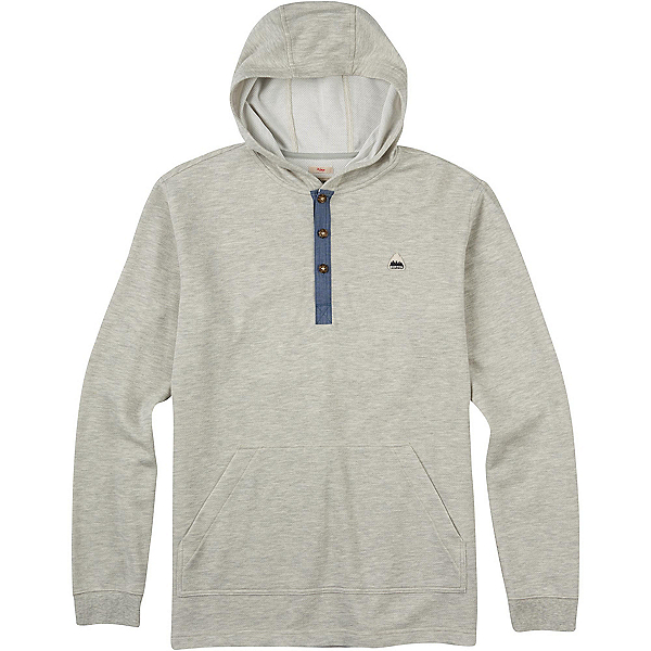 Burton Dexter Hooded Henley Mens Hoodie, High Rise Heather, 600