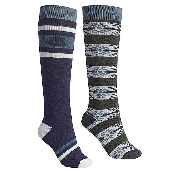 Burton Weekend 2 Pack Womens Snowboard Socks, Mood Indigo, 600
