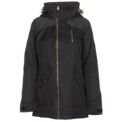 Burton Hazel w/Faux Fur Womens Insulated Snowboard Jacket, True Black-True Black Denim, medium