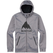 Burton Bonded Full Zip Mens Hoodie, Monument Heather, medium