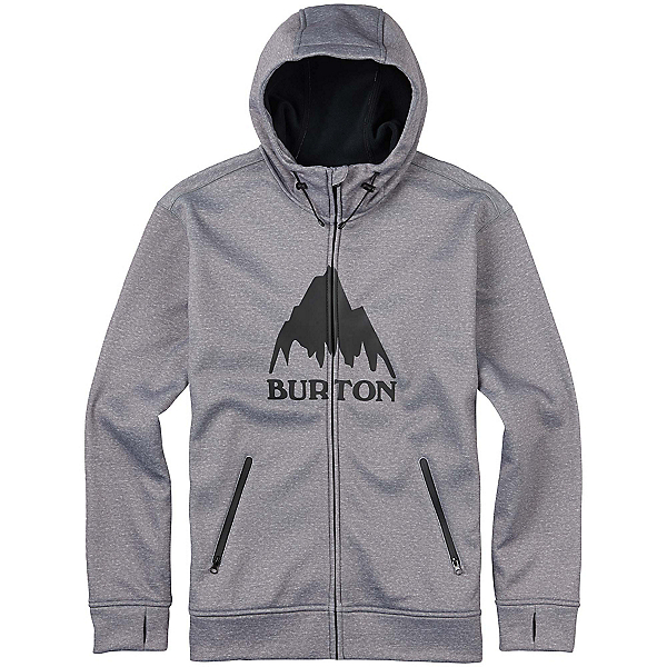 Burton Bonded Full Zip Mens Hoodie, Monument Heather, 600