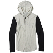 Burton Analog Overlay Full Zip Thermal Hoodie, Grey Heather, medium