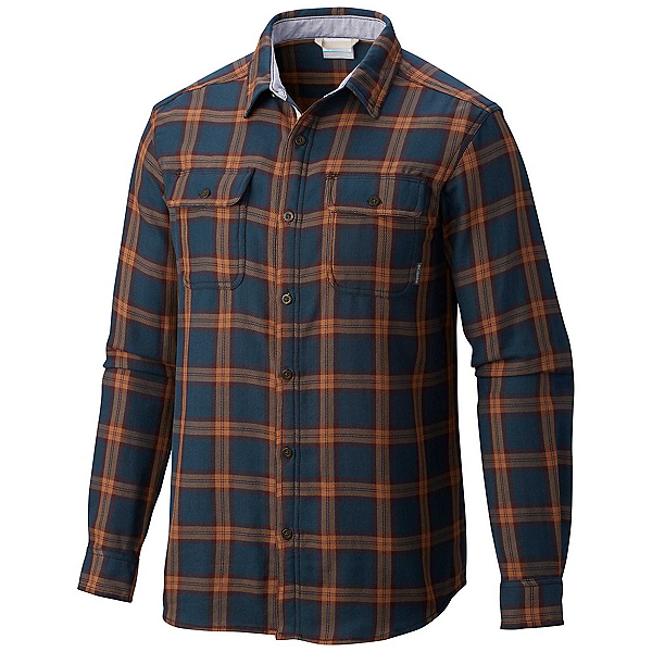 Columbia Hoyt Peak Mens Flannel Shirt, Night Shadow Grid, 600