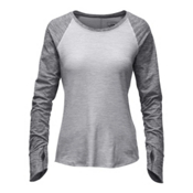The North Face Motivation L/S Womens Shirt, TNF Light Grey Heather-TNF Dar, medium