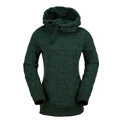 Volcom Tower Pull Over Fleece Womens Hoodie, Expedition Green, medium