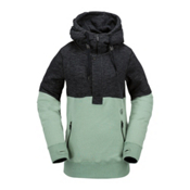 Volcom Shale Pull Over Fleece Womens Hoodie, Sage, medium