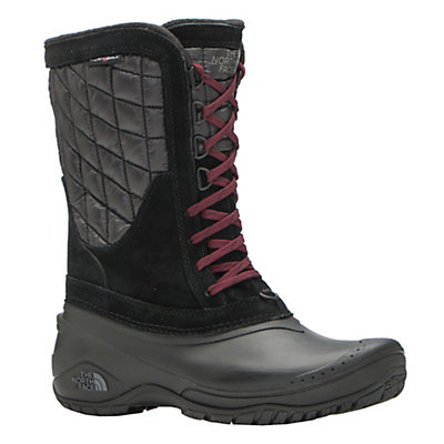 The North Face ThermoBall Utility Mid Womens Boots, TNF Black-Deep Garnet Red, viewer