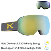 Anon M2 Goggles, Gray-Gold Chrome + Bonus Lens, medium