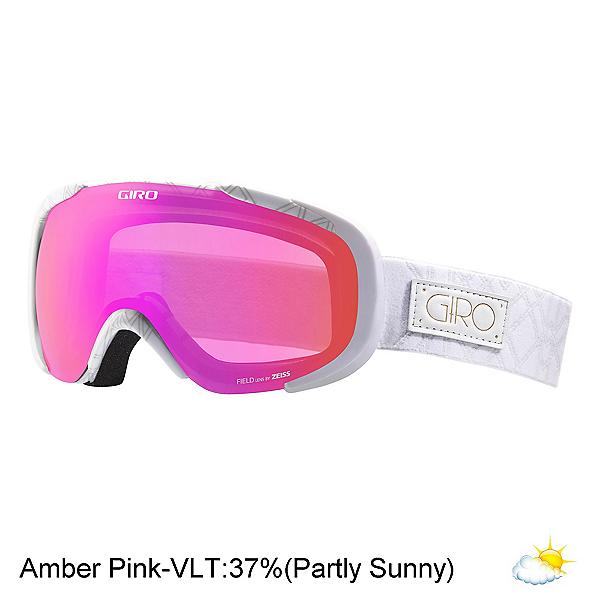 Giro Field Womens Goggles, White Deco-Amber Pink, 600