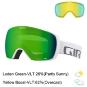 Giro Contact Goggles 2017, White Wordmark-Loden Green + Bonus Lens, medium