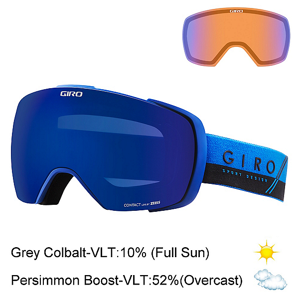 Giro Contact Goggles, Blue-Black Slash-Grey Cobalt + Bonus Lens, 600