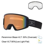 Giro Dylan Womens Goggles 2017, Black Tonal Dots-Persimmon Bla + Bonus Lens, medium