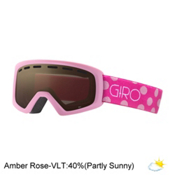 Giro Rev Kids Goggles, Pink Magenta Dots-Amber Rose, medium