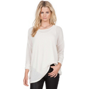 Volcom Lived In Go Crew Womens Shirt, Vintage White, medium