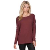 Volcom Lived In Go Crew Womens Shirt, Crimson, medium