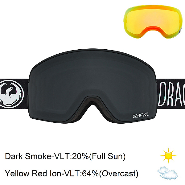 Dragon NFX2 Goggles 2017, Mistress-Dark Smoke + Bonus Lens, 600