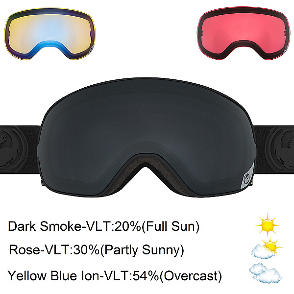 Dragon X2s Goggles 2017, Knight Rider-Dark Smoke + Bonus Lens, 600