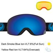 Dragon X2s Goggles 2017, Jet-Dark Smoke Blue Ionized + Bonus Lens, medium