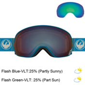 Dragon X2 Goggles 2017, Hone Blue-Optimized Flash Blue + Bonus Lens, medium