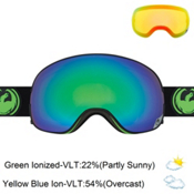 Dragon X2 Goggles, Jet-Green Ionized + Bonus Lens, medium