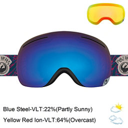 Dragon X1 Goggles, Pow Heads Red-Blue Steel + Bonus Lens, 256