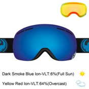Dragon X1s Goggles 2017, Jet-Dark Smoke Blue Ionized + Bonus Lens, medium