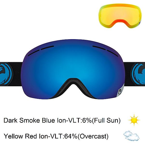 Dragon X1s Goggles 2017, Jet-Dark Smoke Blue Ionized + Bonus Lens, 600
