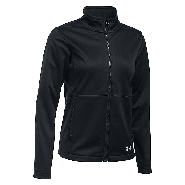 Under Armour ColdGear Infrared Softershell Womens Soft Shell Jacket, Black-Black-Glacier Gray, 600