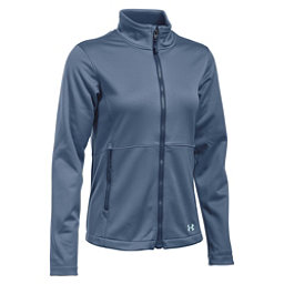 Under Armour ColdGear Infrared Softershell Womens Soft Shell Jacket, Aurora Purple-Faded Ink-Aqua Falls, 256