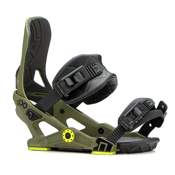 NOW IPO Snowboard Bindings, Army Green, 600