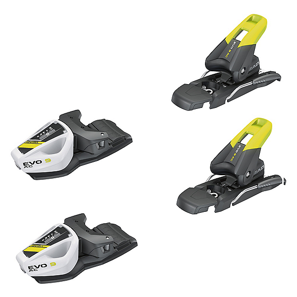Tyrolia EVO 9 AC Junior Ski Bindings 2018, Solid Black-Flash Yellow, 600