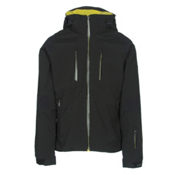 Descente Anton Mens Insulated Ski Jacket, Black-Gunmetal-Yellow, medium