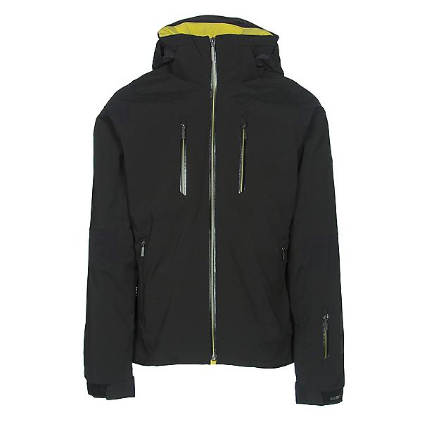 Descente Anton Mens Insulated Ski Jacket, Black-Gunmetal-Yellow, 600