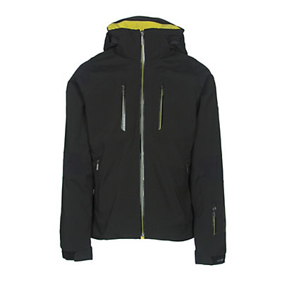 Descente Anton Mens Insulated Ski Jacket, Black-Gunmetal-Yellow, viewer