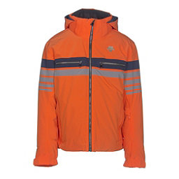 Descente Editor Mens Insulated Ski Jacket, Salamander Orange-Gray-Navy, 256