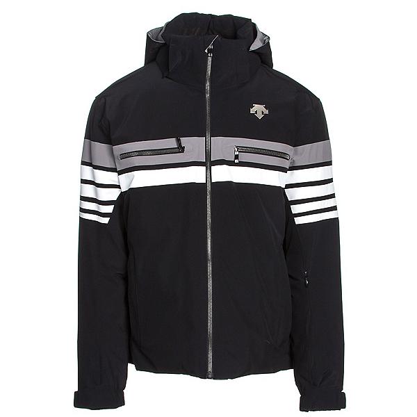 Descente Editor Mens Insulated Ski Jacket, Black-Super White-Gray, 600