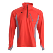 Descente Gavin T-Neck Mens Mid Layer, Electric Orange-Gray, medium