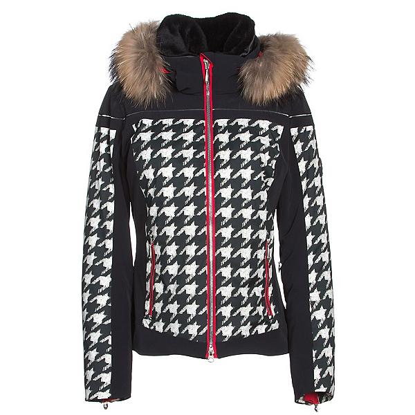 Descente Raven Womens Insulated Ski Jacket, Chidori White-Black-Electric R, 600
