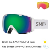 Smith I/O Goggles 2017, White-Green Sol X Mirror + Bonus Lens, medium