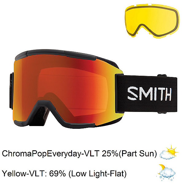 Smith Squad Goggles 2017, Black-Chromapop Everyday + Bonus Lens, 600